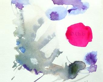 Original Watercolor, Painting, 14 x 15 centimeters,Paris watercolor, expressive,pink circle, grey, purple