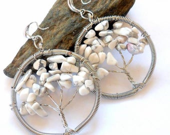 Howlite Tree of Life Gemstone Earrings earthegy #2580
