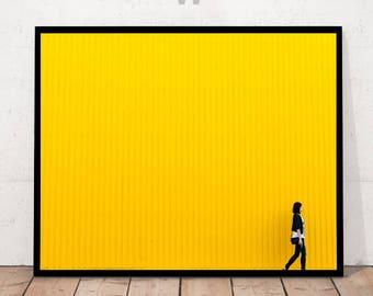Yellow Wall Print, Yellow Wall Photography, Modern Urban Print, Minimalist Photography, Modern Art Photography, Minimalist Urban Decor