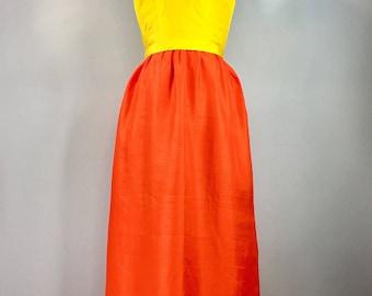 60s Dress Vintage 1960s Canio Silk Yellow Orange Gown Dress Jackie O 34 Bust