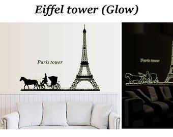 FREE shipping - Glow in the dark - Art Wall Decal Wall Sticke - Eiffel tower 2