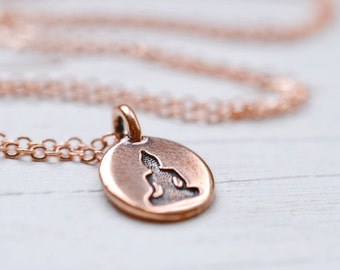 Copper Buddha Necklace, Meditation Drishti Jewelry, Buddha Charm Buddhism Yoga Spiritual Jewelry, Bright Copper Chain, Be Here Now