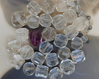Vintage Glass Bead Assortment Clear Glass Beads