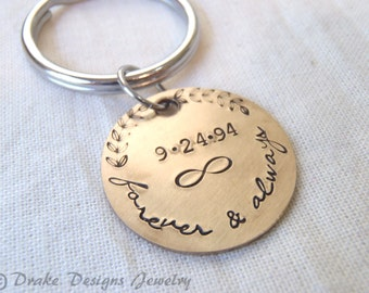8th anniversary gift Bronze anniversary gifts for men or for her bronze infinity keychain personalized