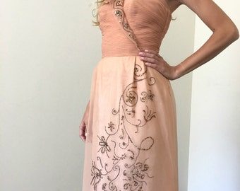 Vintage 50s Peach Formal Prom Dress