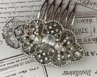 Bridal hair comb , Art deco Hair Comb - Wedding hair Accessories - Crystal Comb -  Comb - Art Deco Headpiece - Bridesmaid - Auralia