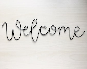 Handmade black wire 'welcome' wall sign. Wire art, front door, scandi, wedding sign, wall sign, wall decor.
