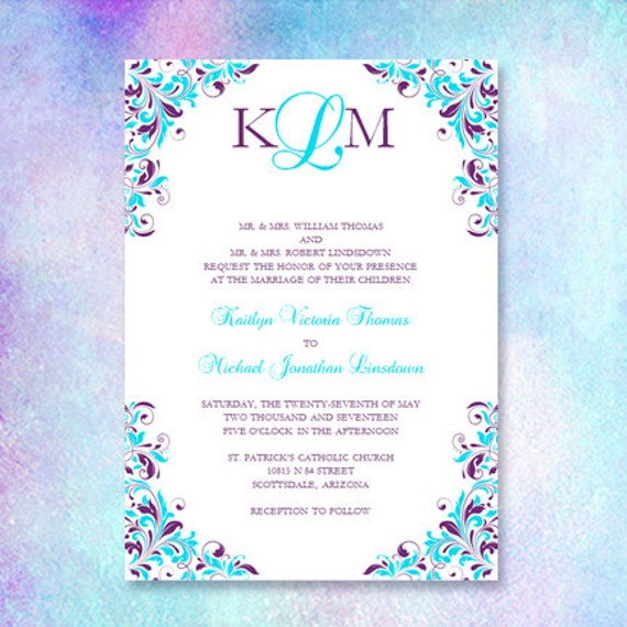 Purple turquoise wedding invitation kaitlyn