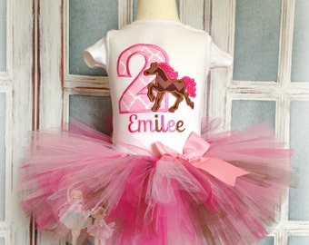 Horse birthday outfit - cowgirl horse birthday tutu outfit - 1st birthday outfit - pony birthday outfit - pink and brown cowgirl outfit