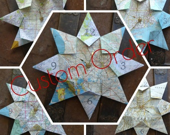 Custom Origami Map Paper Wall Clock: Any City, 1st Anniversary, Graduation, Housewarming, Travel, Destination, Wedding, Retirement