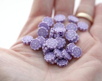Purple Acrylic Flower Beads Washed Matte Finish 10mm (30)