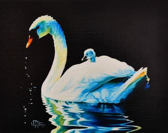 Mother swan oil painting on canvas ready to hang / hipper-realism / animal