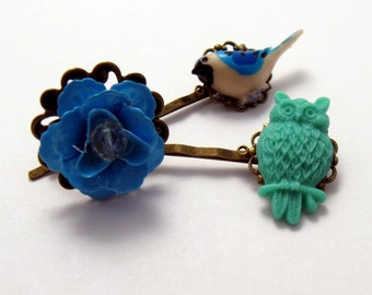 Blue Bird Hairpin, Green Owl Hairpin, Hairpin Set, Bobby Pin Set, Blue Flower Ring, Gift Set, Nature Lover, Gifts for Her, Bird Lover