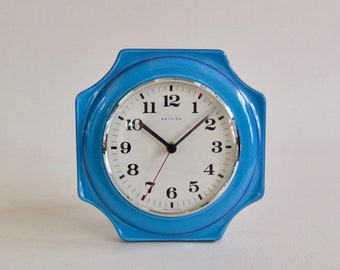 Ceramic Wall Clock by Hettic / 60's Germany / Blue