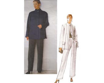 1990s Oscar De La Renta Loose Fitting Jacket and Cuffed Pants Vogue American Designer Sewing Pattern 2188-Size 6-8-10 Bust 30.5 to 32.5