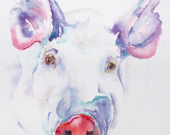 pig art, pig painting, pig print, pig watercolor, kitchen art, pigs, sow, pig canvas,  canvas print, abstract pig, white pig.