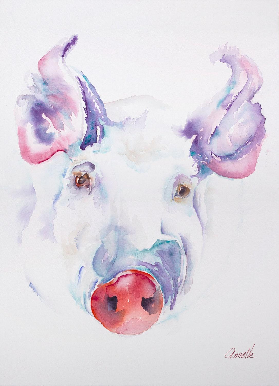 pig art pig painting pig print pig watercolor kitchen art