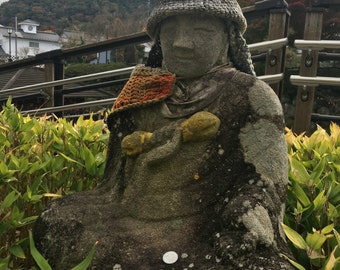 Stone Statue in Hat and Scarf Izu Japan Shuzenji Temple Travel Photography Digital Download High Resolution Nature Landscape