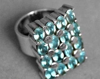 Multi Blue Topaz Gemstone Sterling Silver Ring 6.75 r1