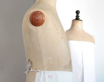 Apron french Centennial/linen french antique/early 20th century / old/linen apron heavy /cousu hand at the time / 73 x 94 cm / revisited TB150