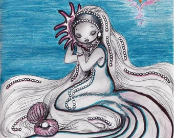 Belladonna, Listening to the Sea, Belladonna, art print, girl with a seashell, conch shell, listening to ocean, mermaid, beach, pearls
