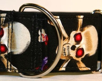 Scary Skulls 2 Inch Martingale Collar-