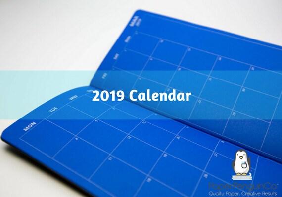 2019 Monthly Calendar Blue Midori Insert Regular A5 B6 Wide A6 Personal Pocket FN Passport 12 Month Plain Kraft Brown Traveler's Notebook