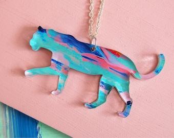 PRE-ORDER 3 WEEKS - Acrylic puma necklace - animal necklace - cat jewellery - cat necklace colourful jewellery acrylic necklace
