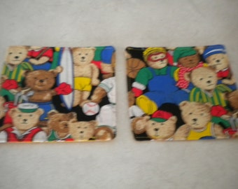 Sporting Teddies drink coaster. Set of 6. (Red back). Fun and practical. Fully washable.