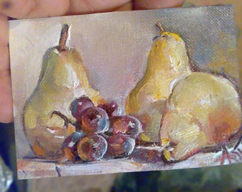 Original aceo,oil painting,fruits summer landscape, kitchen art, miniature. es