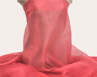 """Iridescent Organza fabric 60"""" wide.. sheer, Coral/d 551 .. formal wear, bridal, pageant, crafts, costumes, home decor"""