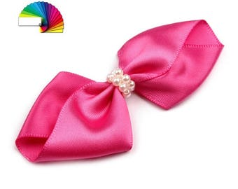 Bow 7 cm satin and pearls