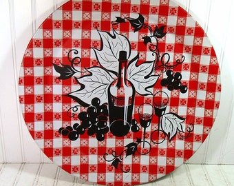 Oversized Metal Tray Retro Round Red & White Checkerboard with Vintage Marcelline Painting Entertain Shabby Chic BoHo Bistro Serving Display