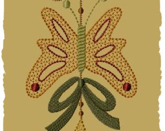 Primitive Machine Embroidery Design-Butterfly Spring Ornie--(5x7)-INSTANT DOWNLOAD