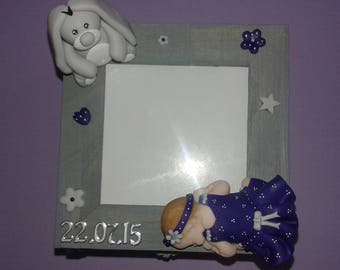TO ORDER! Wooden box with polymer clay decorations and baby. Birth, baptism, birthday gift...