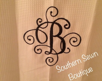 "Scroll Monogrammed Shower Curtain 70""x72"""