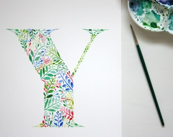 Watercolour Initial Wall Art Print, Letter Y Artwork, Botanical Painting, Letter Print, Hand Painted