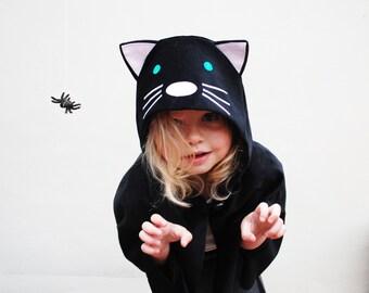 Cat cape costume handmade in black velvet Katze