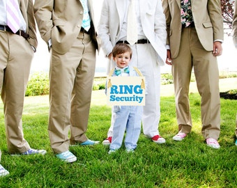 Ring Security Funny Wedding Sign | Hanging Ring Bearer Banner | Paper Graphic w/ Ribbon | Handmade in USA | Bold Block Font 1050 BW