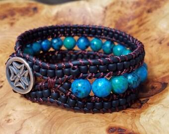 Shaded Spruce Wrapped Leather Bracelet