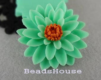652-00-CA   2pcs Pretty Classic Big Chrysanthemum Cabochons - Opal/Orange