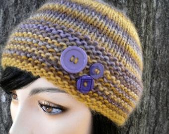 Hat Beanie Purple Gold Stripe Bulky Knit