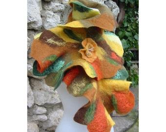 Nuno Felt Scarf,Felt AU Wool Scarf,Woman Scarf,Wool Collar Scarf,European Art Deco,Orange Boho Scarf,Handmade,OOAK, Merino Felt Collar Scarf