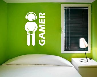 Gamer Wall Decal for Rooms, Doors Decoration - Video Game Wall Decal, Game Vinyl Art, Boys Room, Play Room Decoration, Game Console Decal