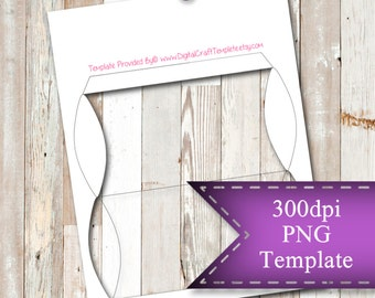 "INSTANT DOWNLOAD  Pillow Box Template,  8.5""x11"" Transparent PNG"