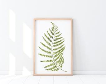 Watercolor Fern Leaf | Watercolor Print | Watercolor Botanicals Print | Watercolor Foliage  | Hanging | Home Decor | Wall Art