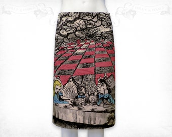 Alice in Wonderland Mad Tea party stretch cotton skirt Colour- black back