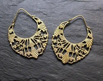 Brass hoops Earrings, boho earrings, indian earrings, gypsy earrings, ethnic jewelry