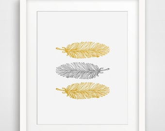Feathers Mustard Yellow and Grey Modern Home Decor, Printable Wall Art, Mustard Decoration, Nursery Decor, Large Poster, Grey and Yellow