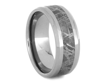 Meteorite Wedding Ring for Men, Titanium Wedding Band with Meteorie Inlay, Signature Style